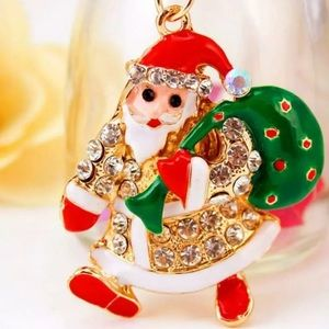 NWT Betsey Johnson Christmas Santa Claus Necklace